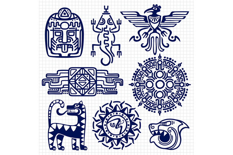 ballpoint-pen-american-aztec-mayan-culture-native-totems-on-notebook