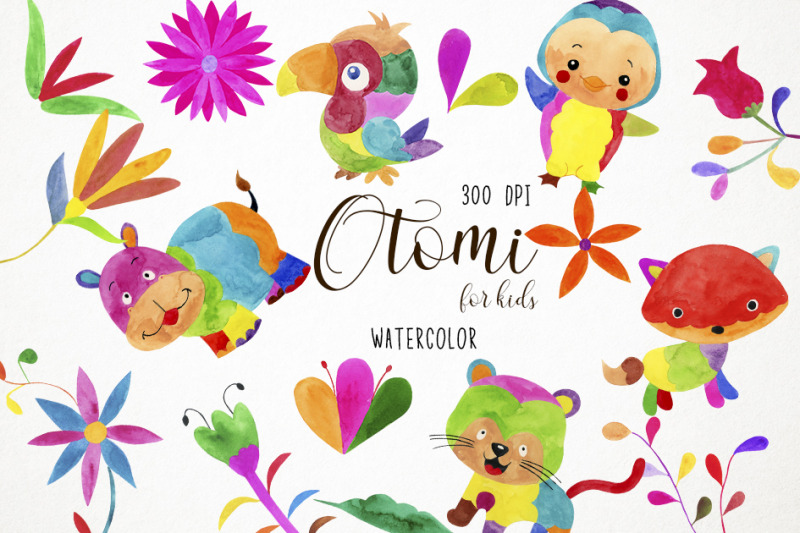 watercolor-otomi-clipart-otomi-illustration-otomi-baby-clipart