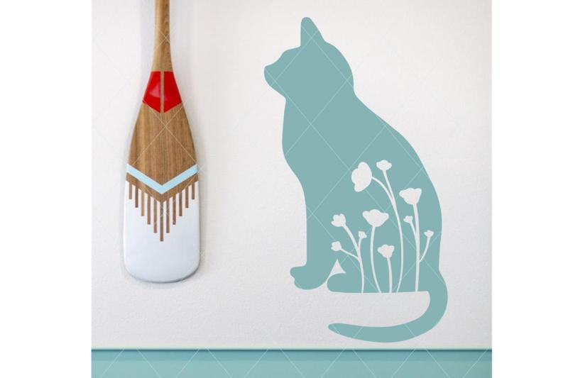 cat-and-flowers-svg-cat-svg-flowers-svg-flower-cut-file-wall-print