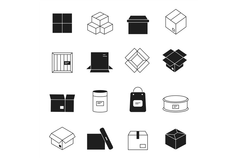 box-icons-cardboard-packages-envelopes-mail-stack-vector-symbols-isol