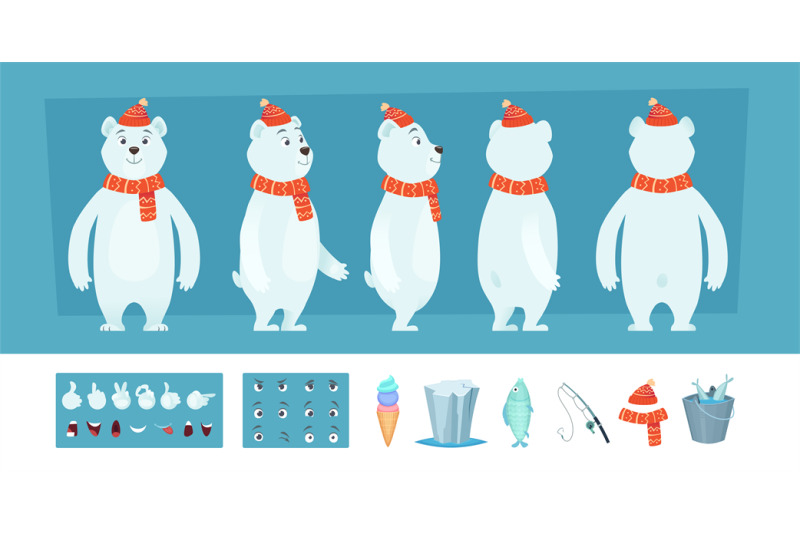 polar-bear-animation-white-wild-animal-body-parts-and-different-faces