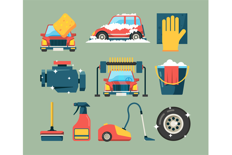 car-wash-service-dirty-machines-in-clean-building-water-bucket-wiping