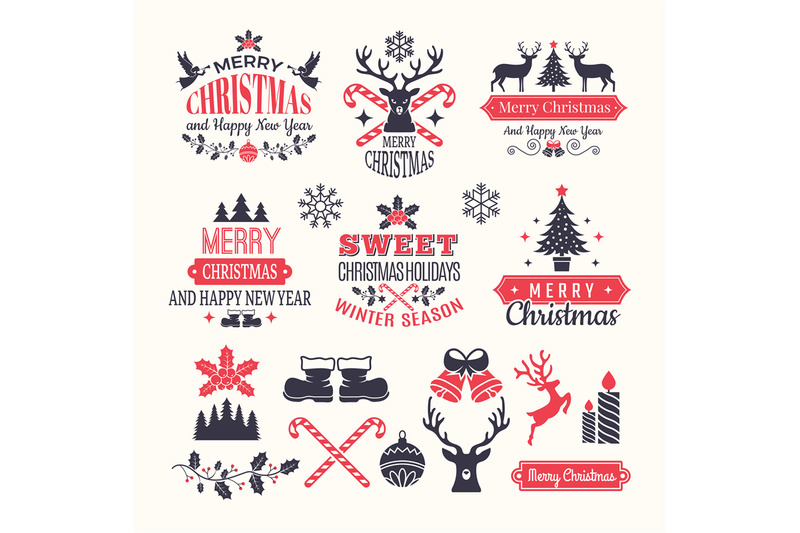 christmas-holiday-labels-vintage-winter-badges-and-logos-with-various
