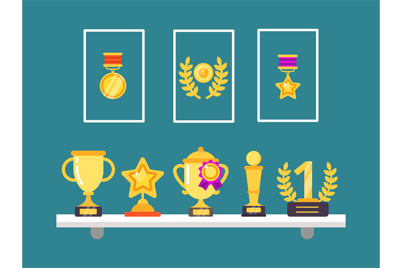 achievements-on-shelves-wall-trophy-golden-cups-and-medals-in-frames