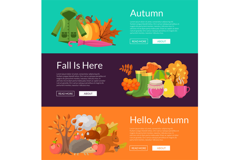 vector-cartoon-autumn-elements-and-leaves-web-banner-templates-illustr