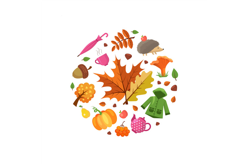 vector-cartoon-autumn-elements-and-leaves-in-circle-shape-illustration