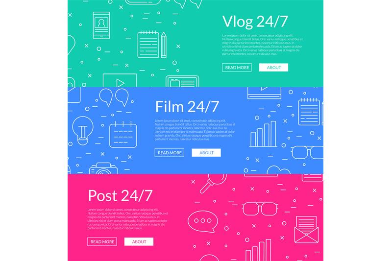 vector-line-blog-icons-web-banner-templates-illustration