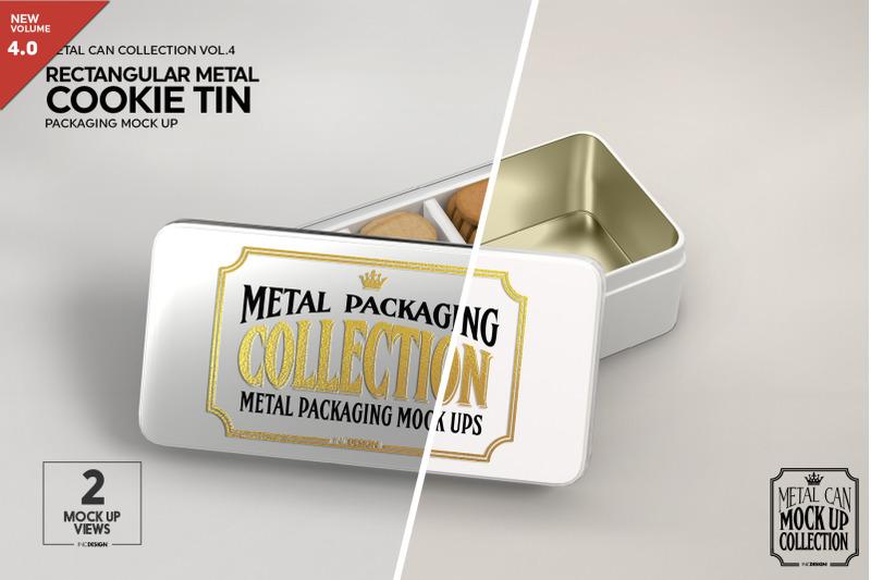 Free Metal Rectangular Cookie TinPackaging Mockup (PSD Mockups)