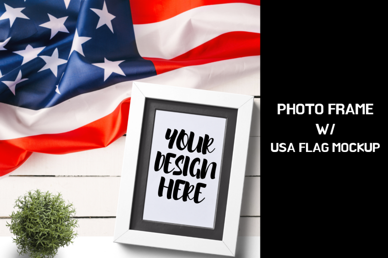 Free Photo Frame With USA Flag Mock up|2000x2000px (PSD Mockups)