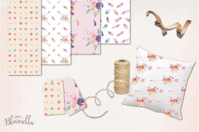 floral-arrow-watercolor-creator-frames-bouquets-patterns-huge-set