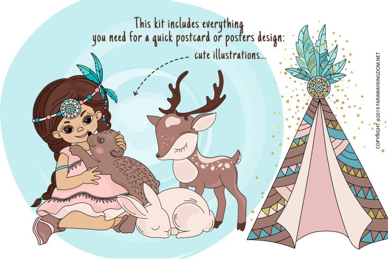 indians-princess-pocahontas-thanksgiving-vector-illustration-set
