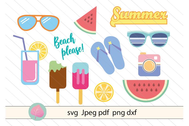 summer-bundle-svg-watermelon-sunglasses-flip-flop-ice-cream-vector