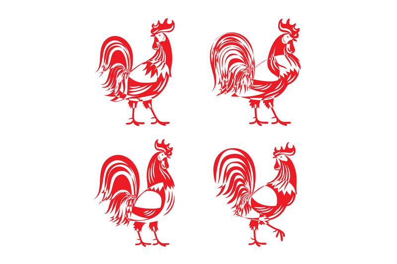 stylized-red-cockerel-rooster-silhouette-set