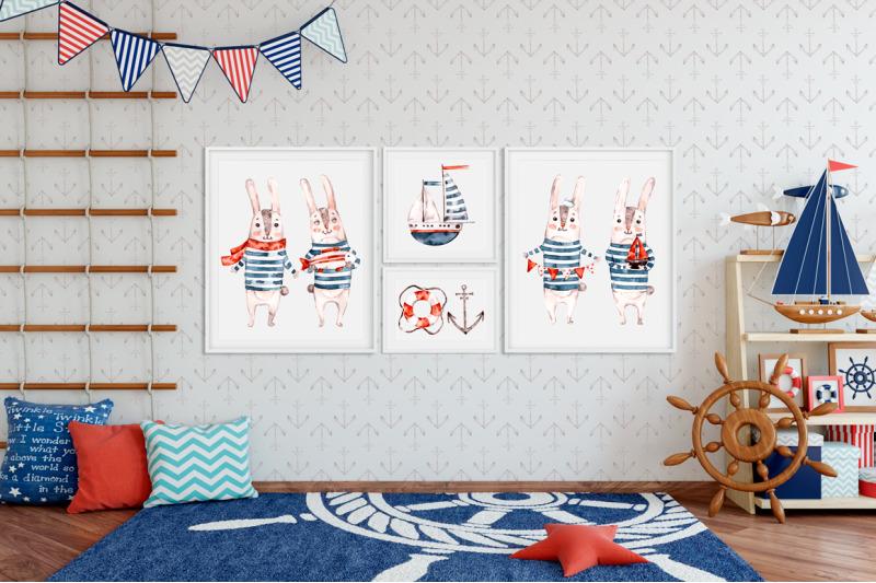 cute-rabbit-sailor-kids-watercolor-sea-clipart-baby-bunny-animals