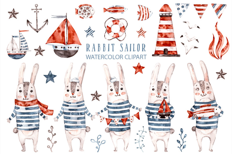 cute-rabbit-sailor-kids-watercolor-sea-clipart-baby-bunny-animals