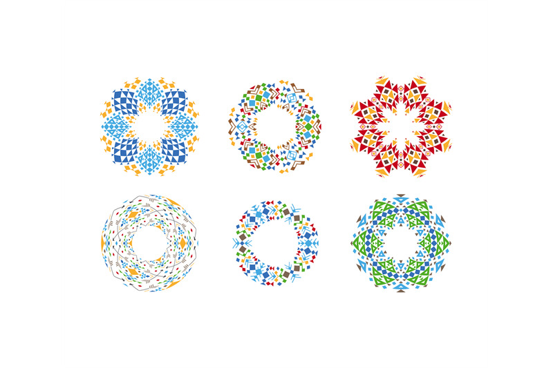 colorful-ethnic-cirular-frames-set
