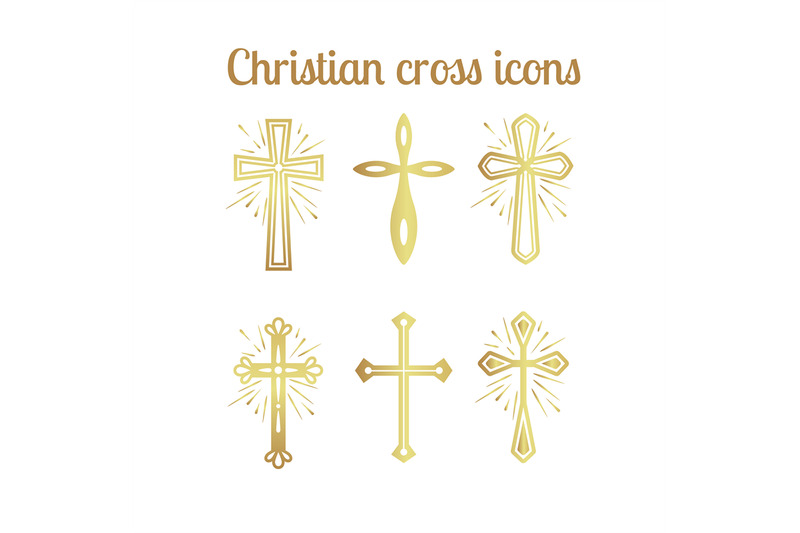 golden-christian-cross-icons-set