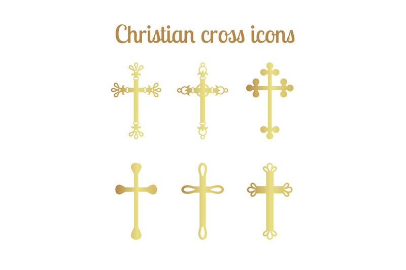 golden-cross-icons-set