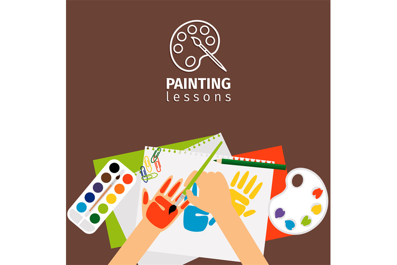 kids-painting-lessons-vector-illustration