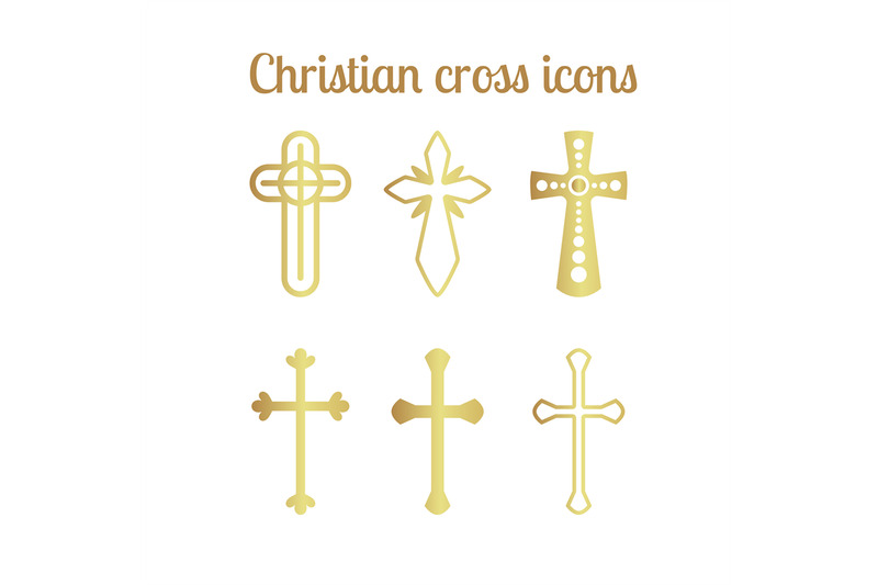 golden-christian-cross-icons-on-white