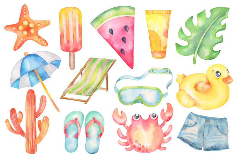 summer-vibes-watercolor-clipart-beach-pool-elements