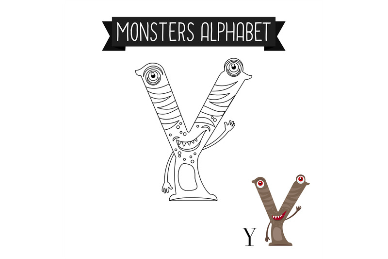 coloring-page-monsters-alphabet-letter-y
