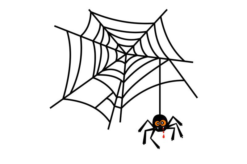 halloween-cute-spider-on-web-vector
