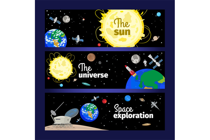 space-theme-banners-set