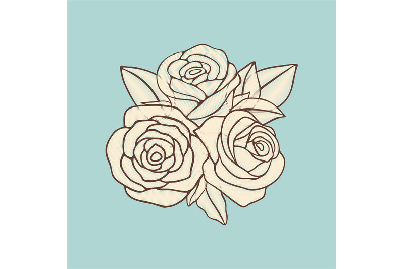 vintage-hand-drawn-roses-patch-vector-design