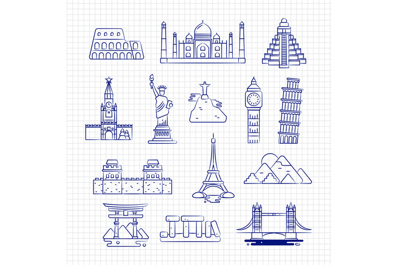 ballpoint-drawing-international-country-linear-landmark-vector-on-note