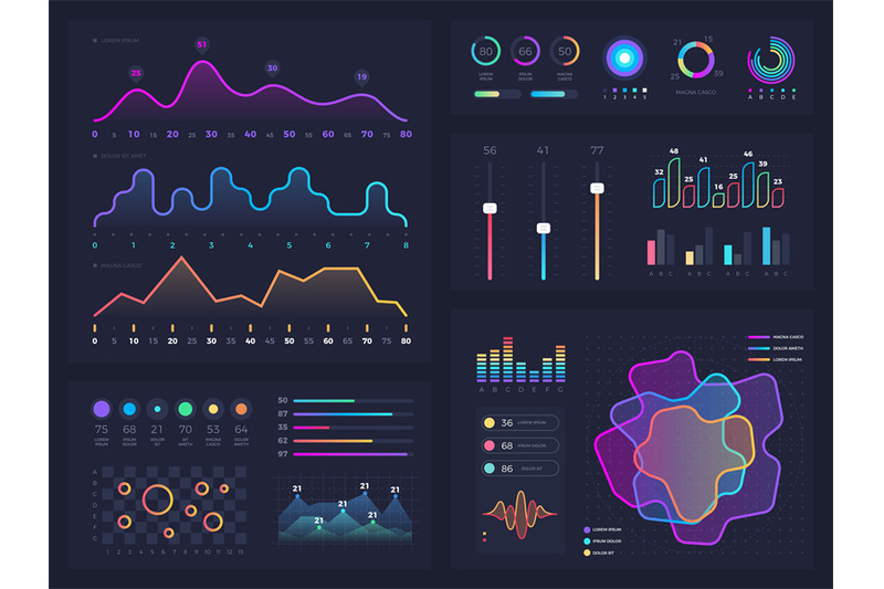 technology-graphics-and-diagram-with-options-and-workflow-charts-vect