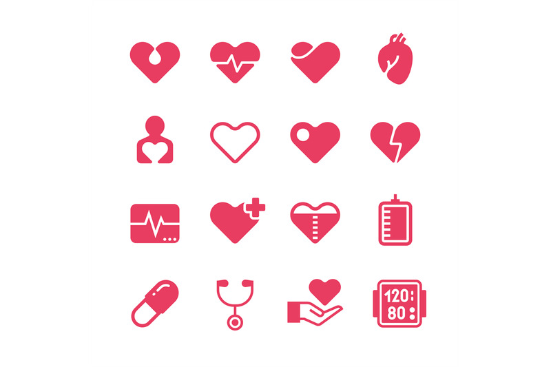 heart-diagnosis-and-cardiac-treatment-vector-icons-cardiology-red-sil