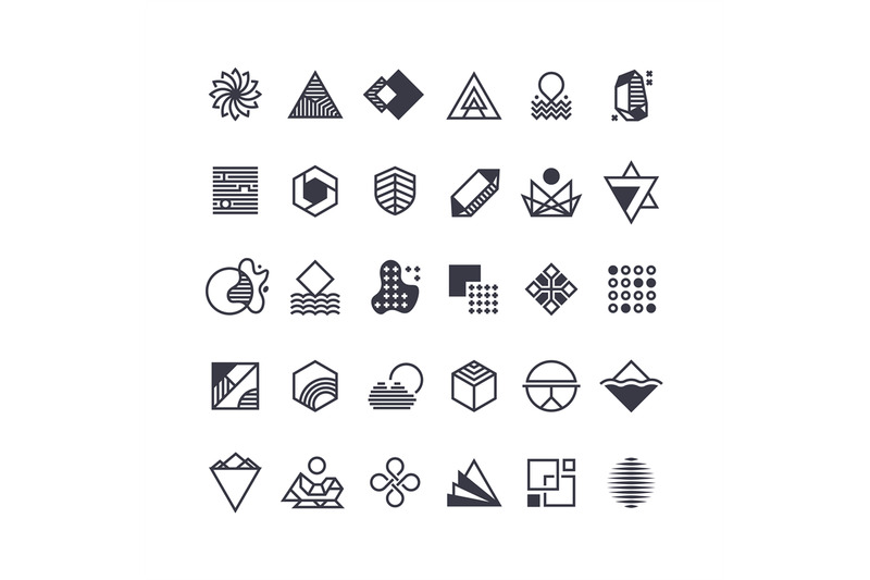 vector-geometric-shapes-and-symbols-geometrical-logos-vector-set