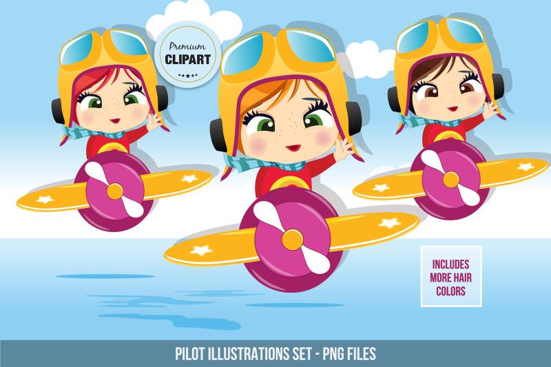 little-pilot-graphics-pilot-girl-illustrations