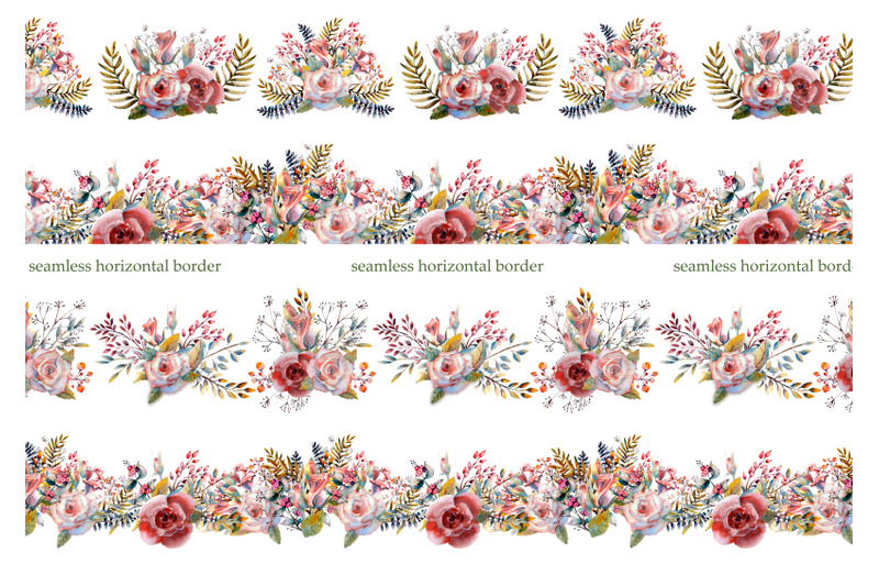 pink-rose-repetition-of-summer-horizontal-border