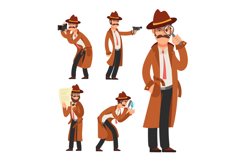 cartoon-private-detective-police-inspector-vector-character-set