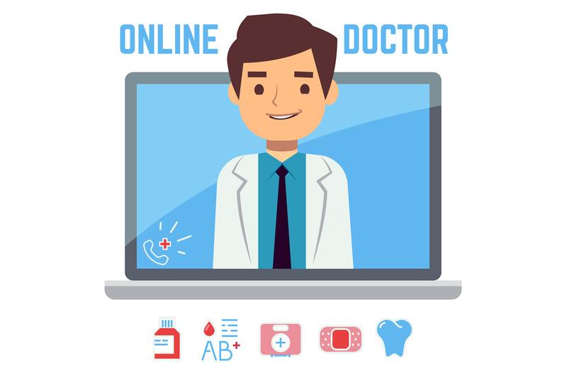 flat-online-doctor-internet-computer-health-service-medical-consulta