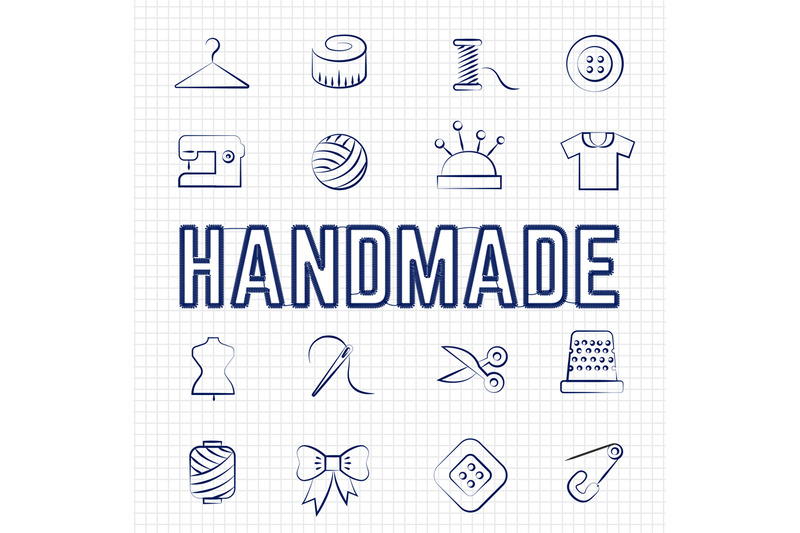 handmade-hobby-linear-icons-set