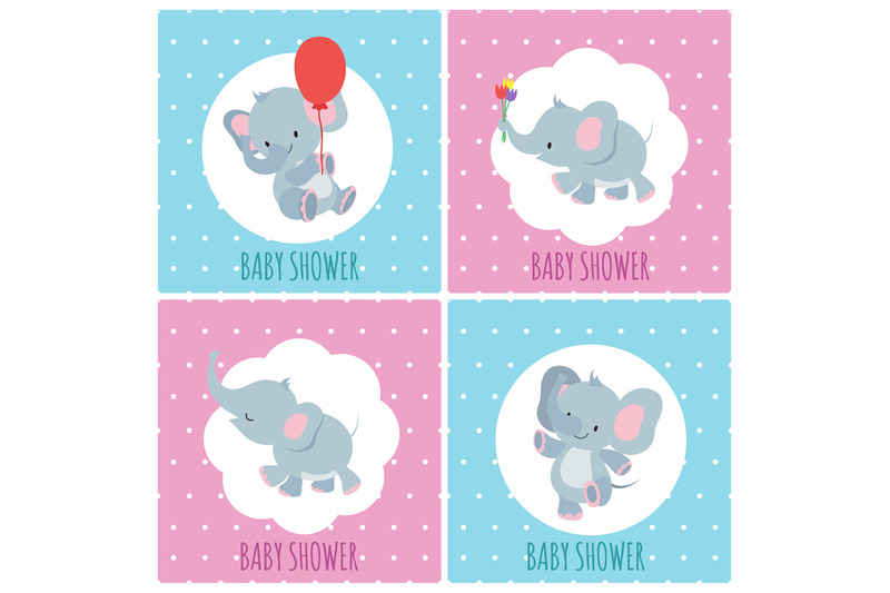 baby-shower-invitation-cards-with-cute-cartoon-elephants-vector-set