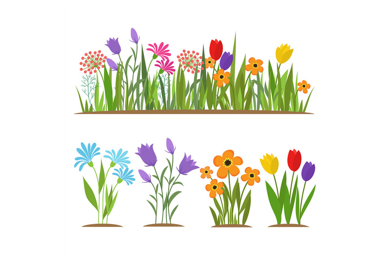early-spring-forest-and-garden-flowers-isolated-on-white-vector-set