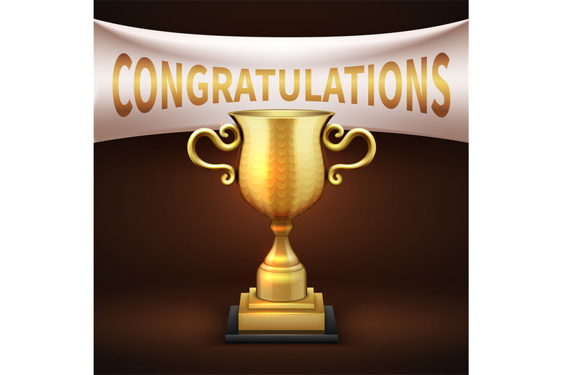 golden-luxury-trophy-cup-with-white-textile-banner-and-congratulations