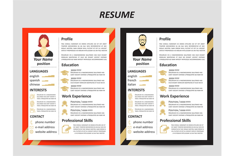male-and-female-resume-templates-with-flat-elements