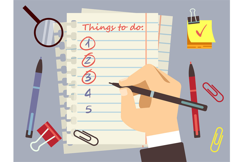 flat-to-do-list-page-and-stationery-vector