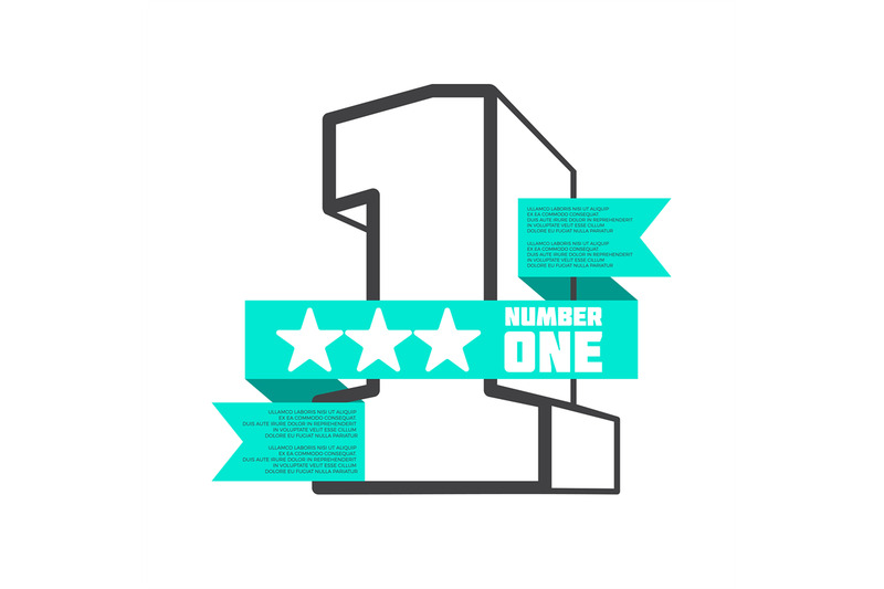 3d-number-one-with-ribbon-banner-vector-design