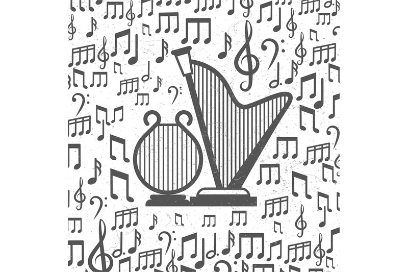 music-background-with-harps-and-notes