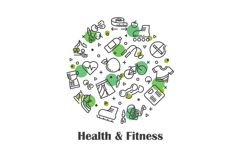 health-and-fitness-fresh-food-outline-icons-concept-vector