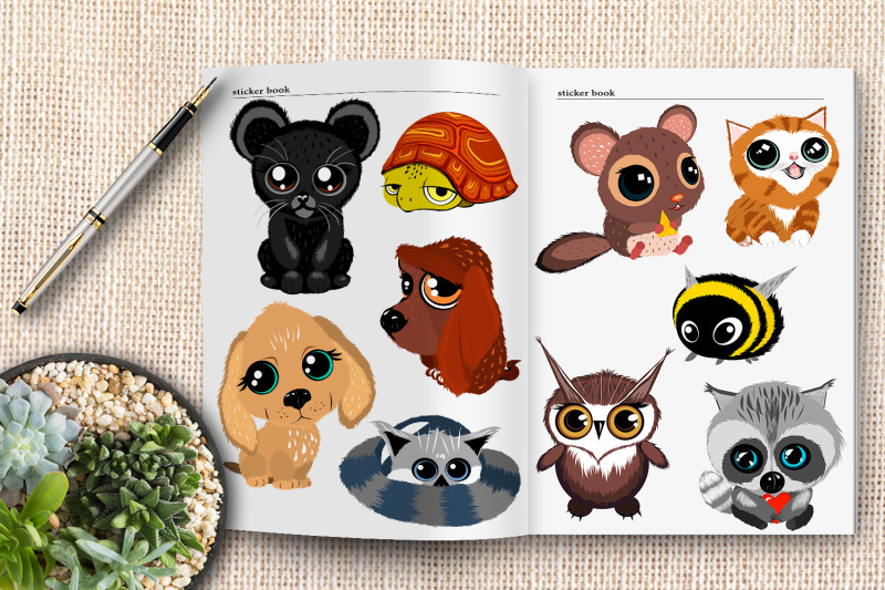 cute-cartoon-animals-with-big-eyes-children-love-vector