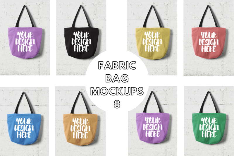 Free Fabric Bag Mock Ups with Wall Background - 8 (PSD Mockups)