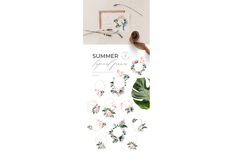 summer-aesthetics-watercolor-essentials-clipart-collection-tropical