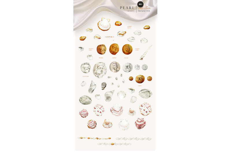 pearl-in-gold-shell-trend-watercolor-collection